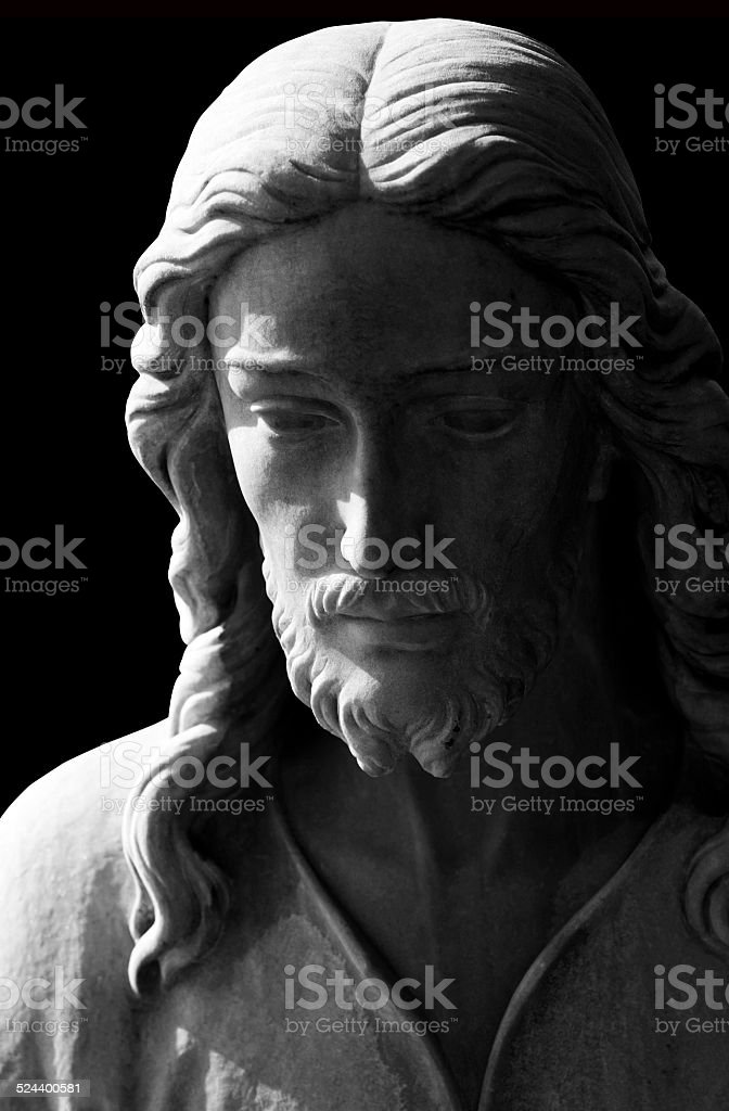 Black and white marble statue of Jesus Christ, clipping path stock photo