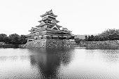 Black and White Matsumoto Castle Reflecting in Moat Nagano Japan
