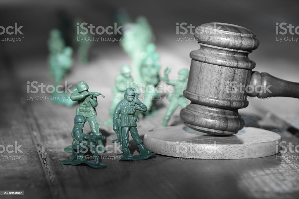 Black and white military court Concept stock photo