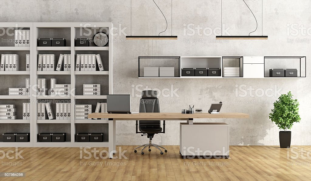 Black and white modern office stock photo