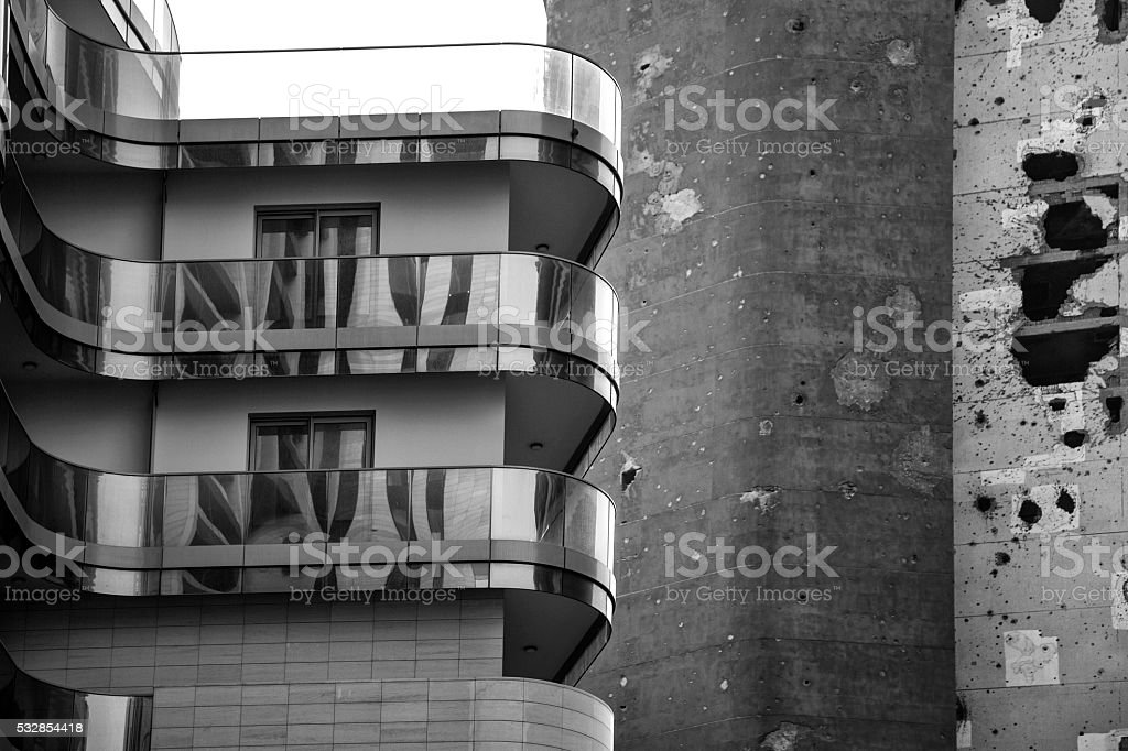 Black and white Modern warfare stock photo