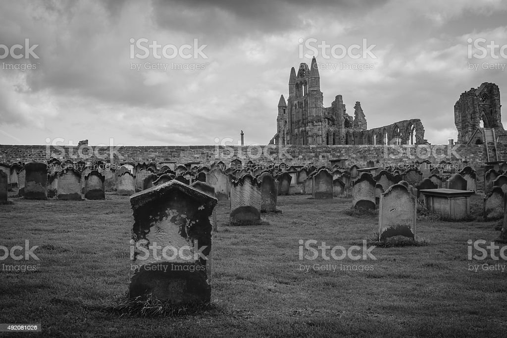 Black and White Monastery Cemetery in Whitby, North Yorkshire, U stock photo