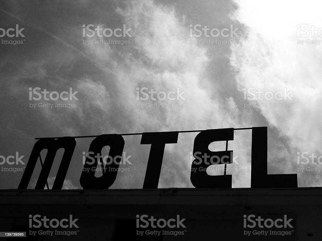 Black and white motel sign royalty-free stock photo