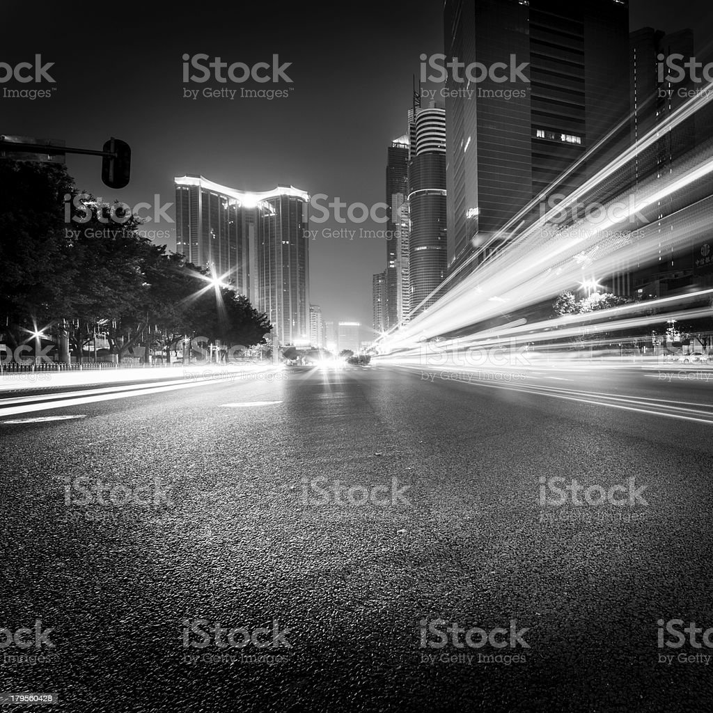 Black and white motion blur picture of traffic at the city royalty-free stock photo