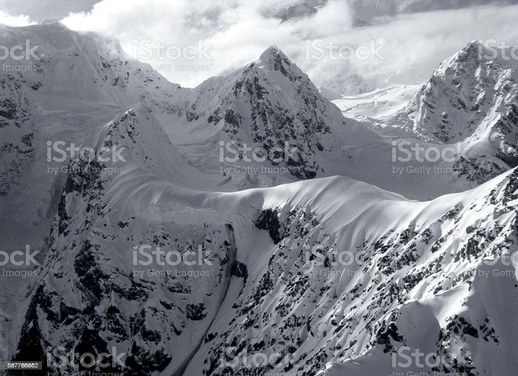 Black and White Mountains in Alaska stock photo