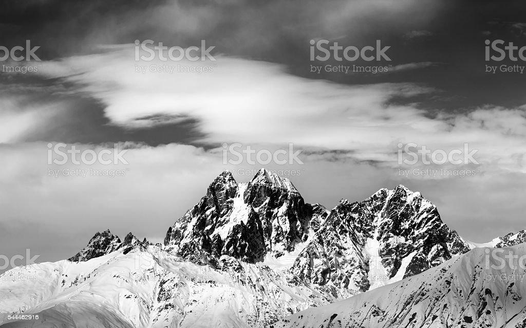 Black and white Mounts Ushba and Chatyn stock photo
