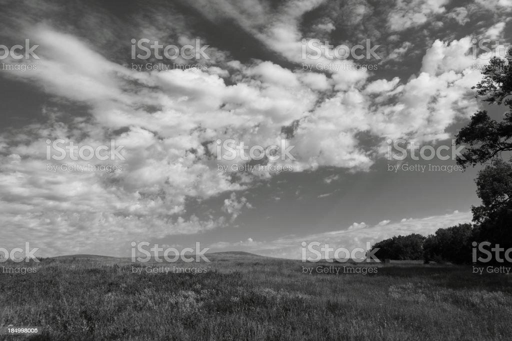 Black and White Nebraska Landscape royalty-free stock photo
