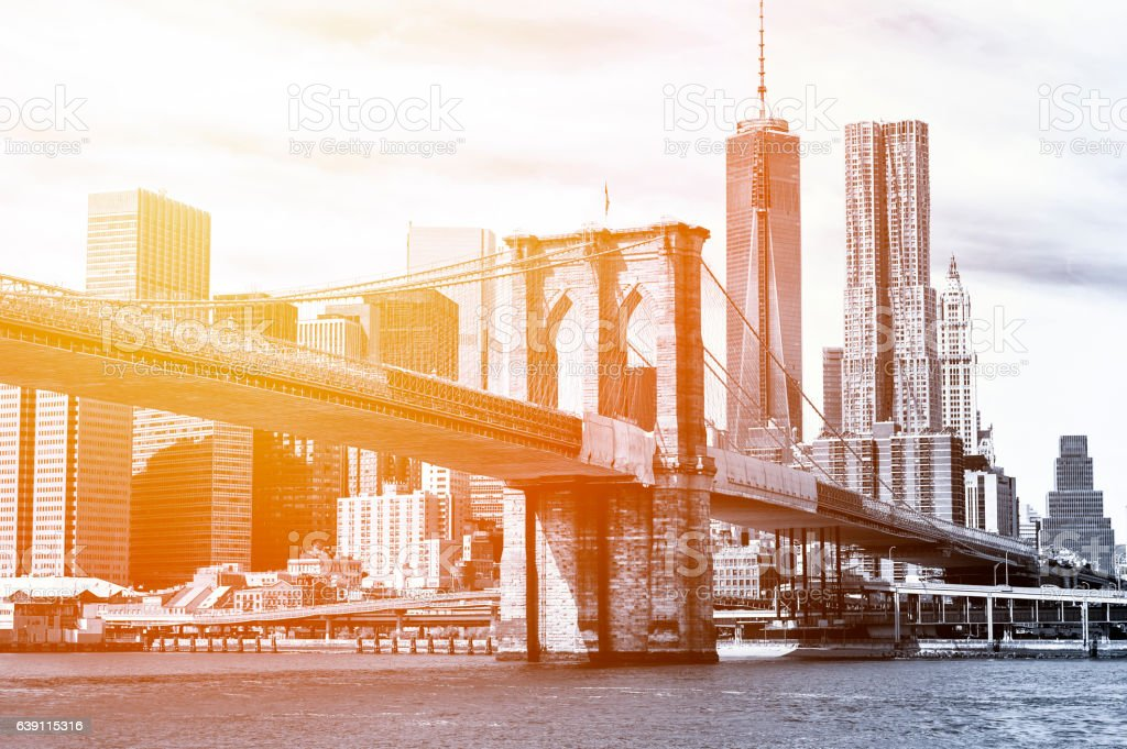 Black and White New York Skyline in the sunset stock photo