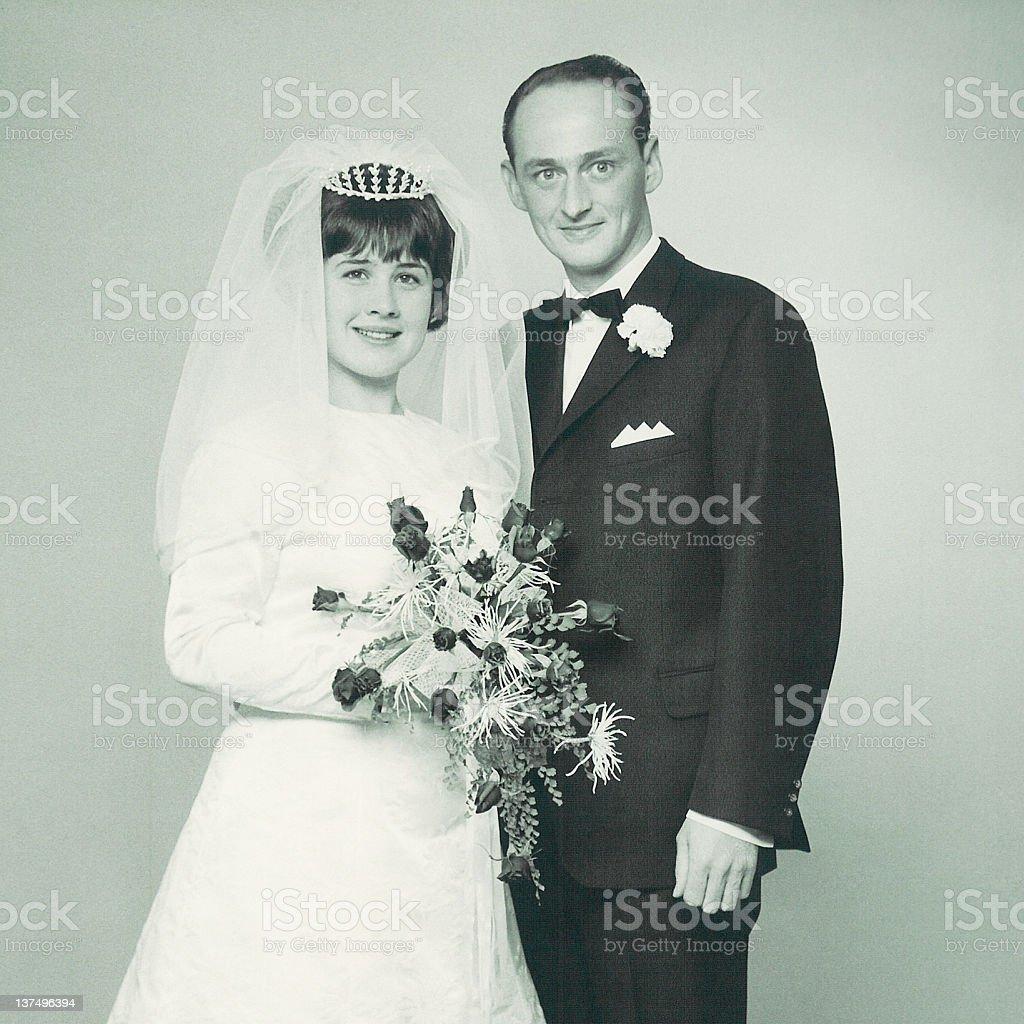 Black and white newlywed photo stock photo