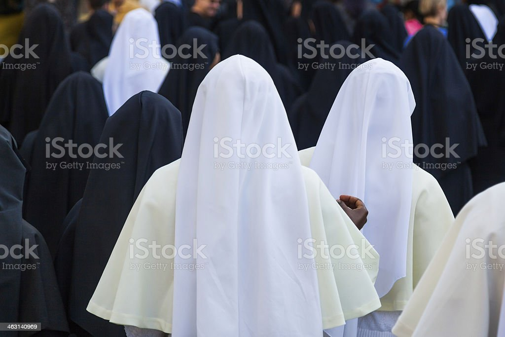 black and white nuns stock photo