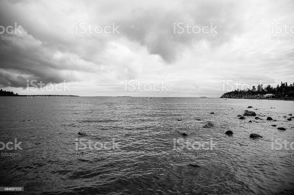 Black and white ocean stock photo