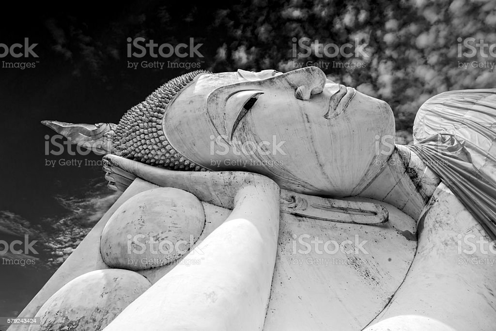Black and white of big Buddha Statue in Thai Temple. stock photo