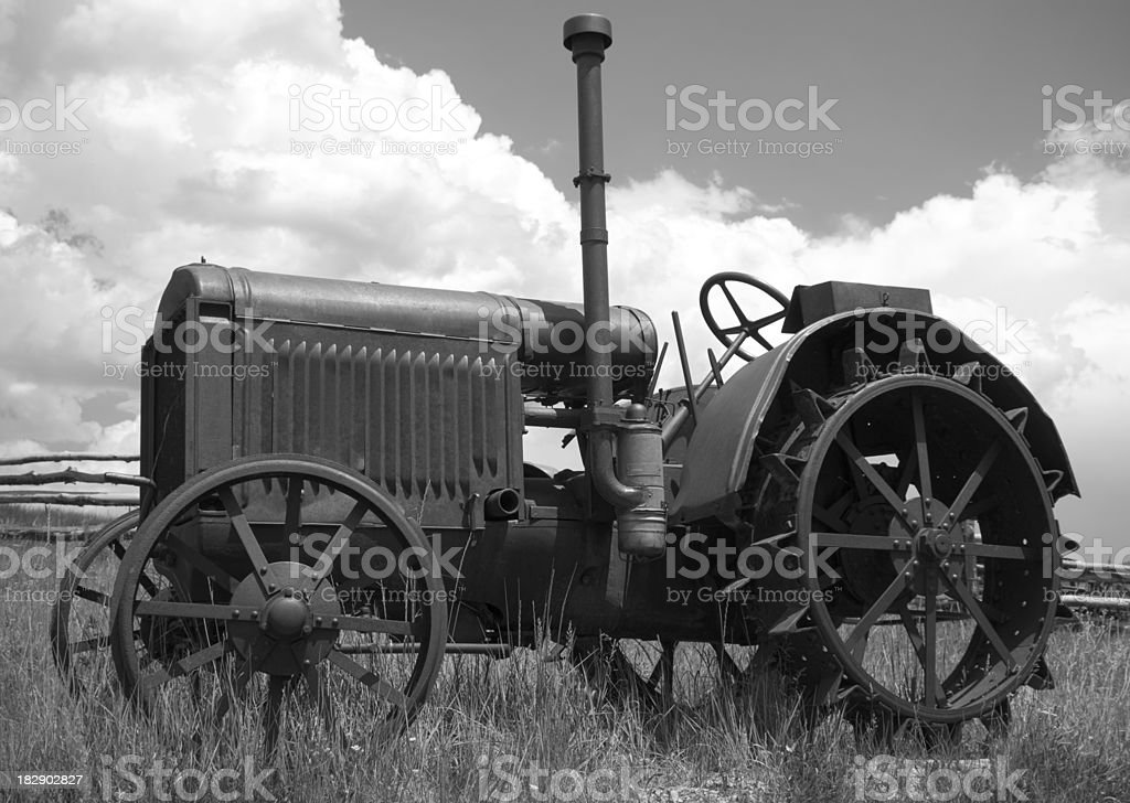 Black and white of old tractor royalty-free stock photo