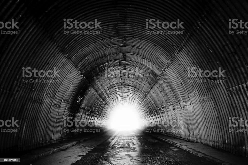 Black and White of Tunnel stock photo