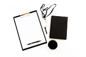 Black and white office mockup. Business background. Top view mockup