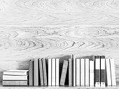 Black and white old books. 3D illustration