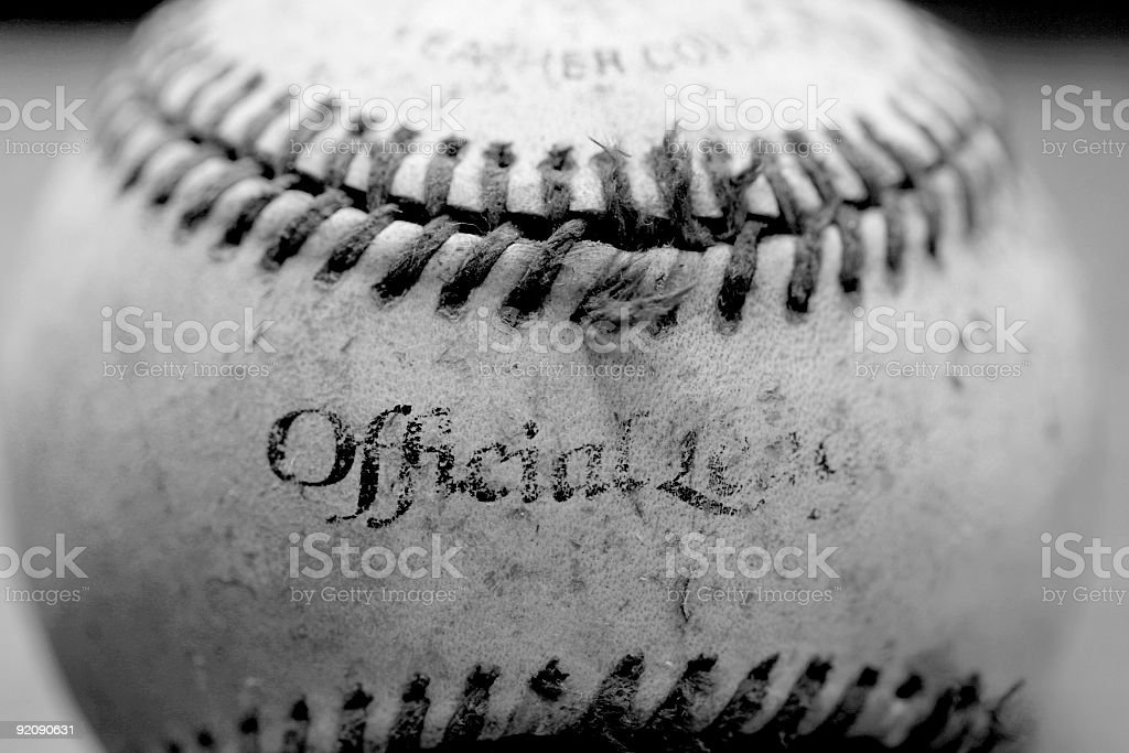 black and white old dirty baseBall royalty-free stock photo