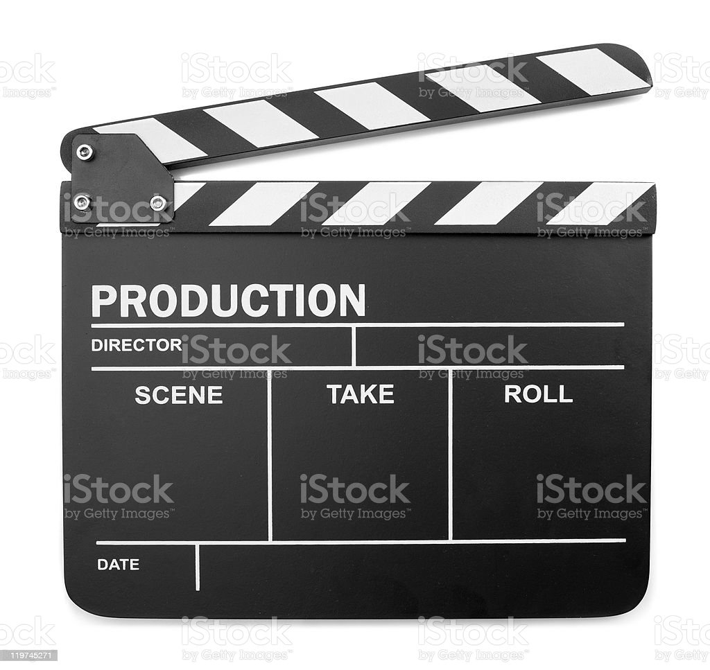 Black and white old fashioned production clapper board stock photo
