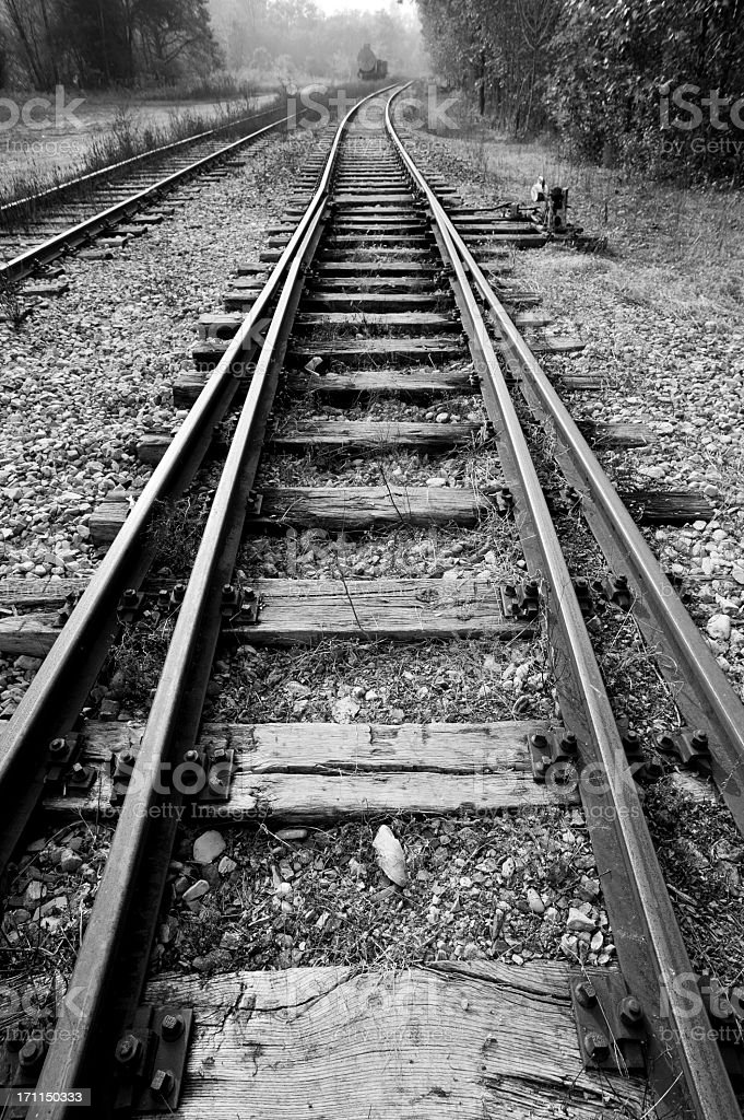 Black And White Old Railway stock photo