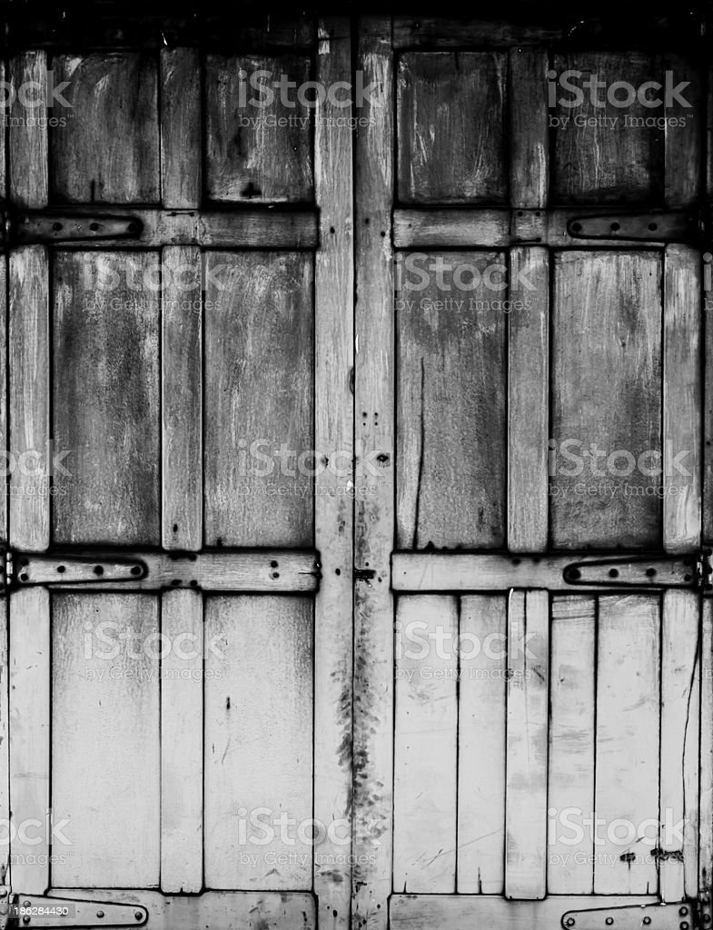 black and white Old wood window royalty-free stock photo