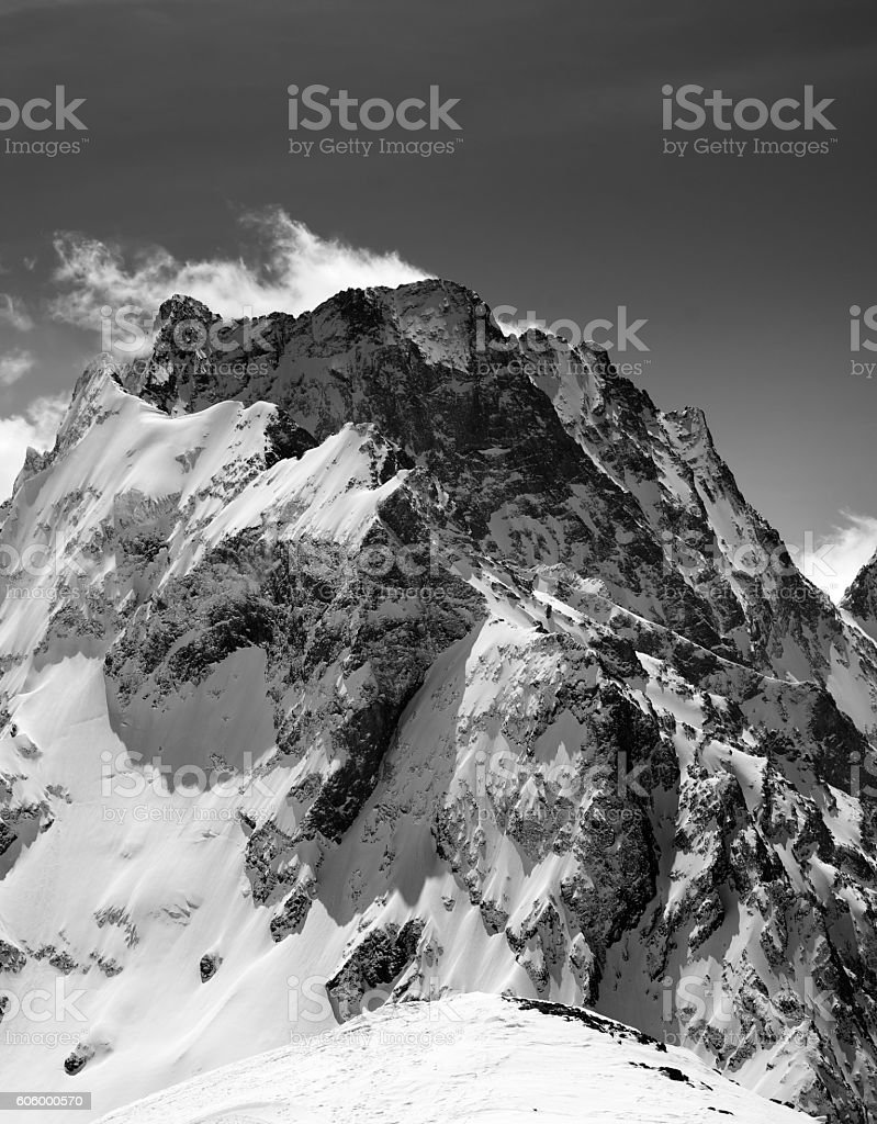 Black and white on winter snow mountain stock photo