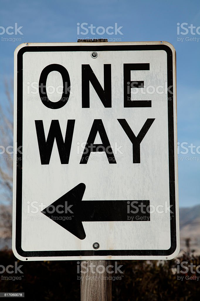 Black and White One Way Sign stock photo