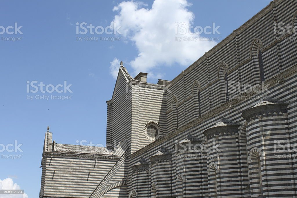 Black and white Orvieto cathedral royalty-free stock photo