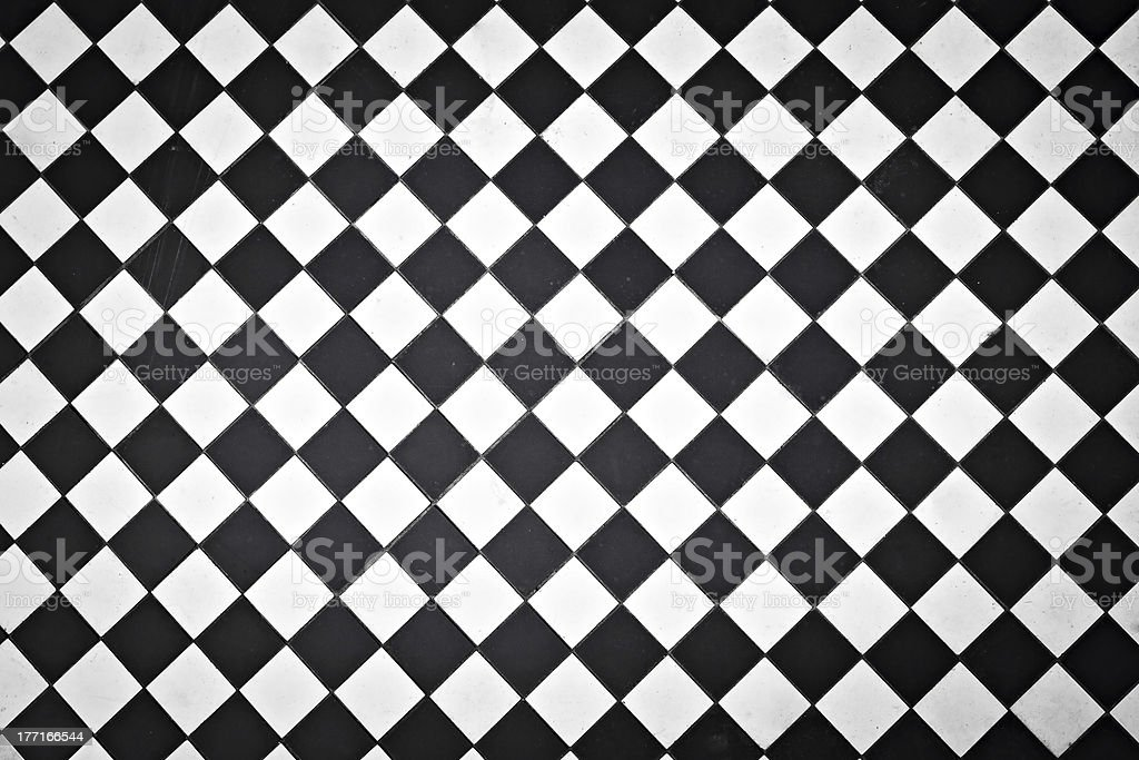 Black and white outdoor tiles stock photo