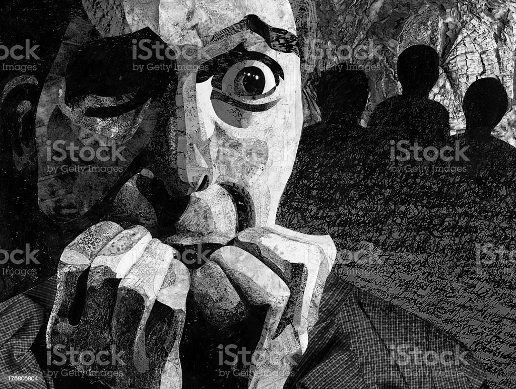 Black and white painting of terrified man with hand in mouth stock photo