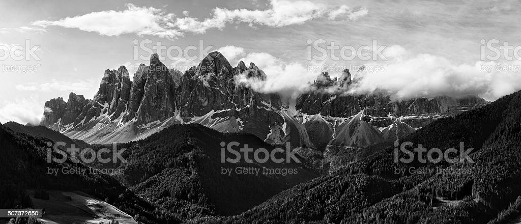 Black and white panorama of Geisler (Odle) Dolomites Group stock photo
