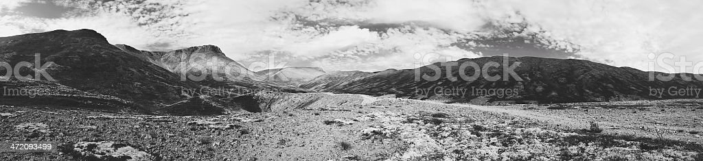 Black and white panorama of Khibiny mountains in Russia stock photo