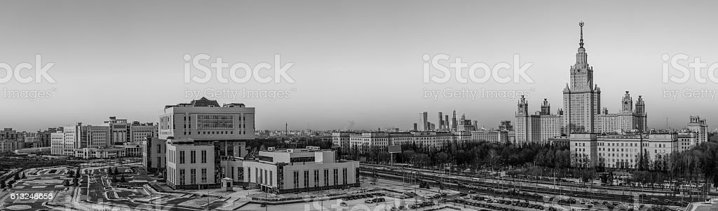 Black and white panorama of Moscow university in winter stock photo
