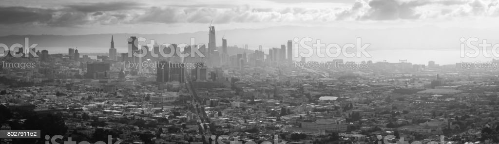 Black and White Panoramic View of San Francisco with Fog stock photo