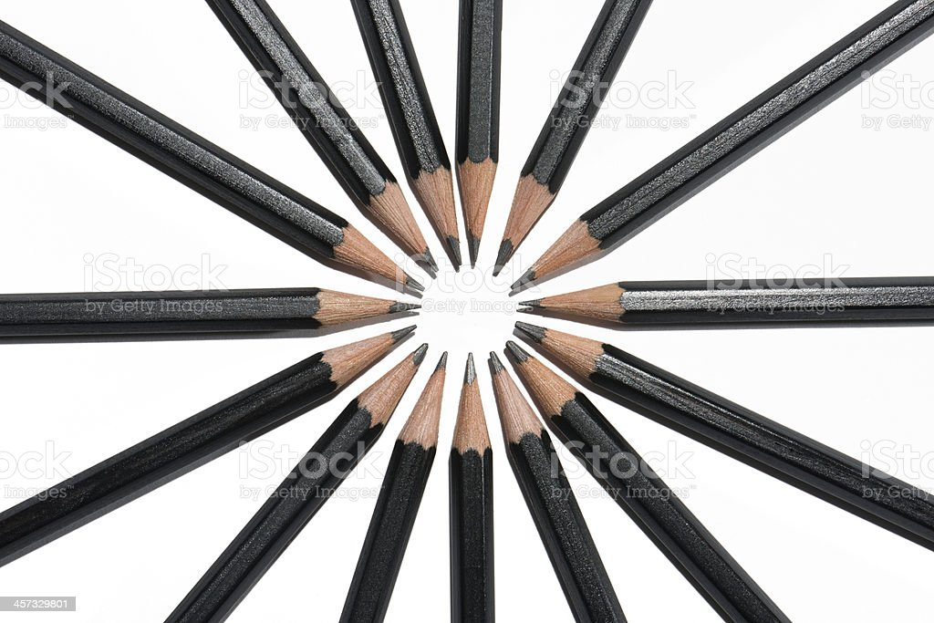 Black and White Pencil Circle From Above royalty-free stock photo