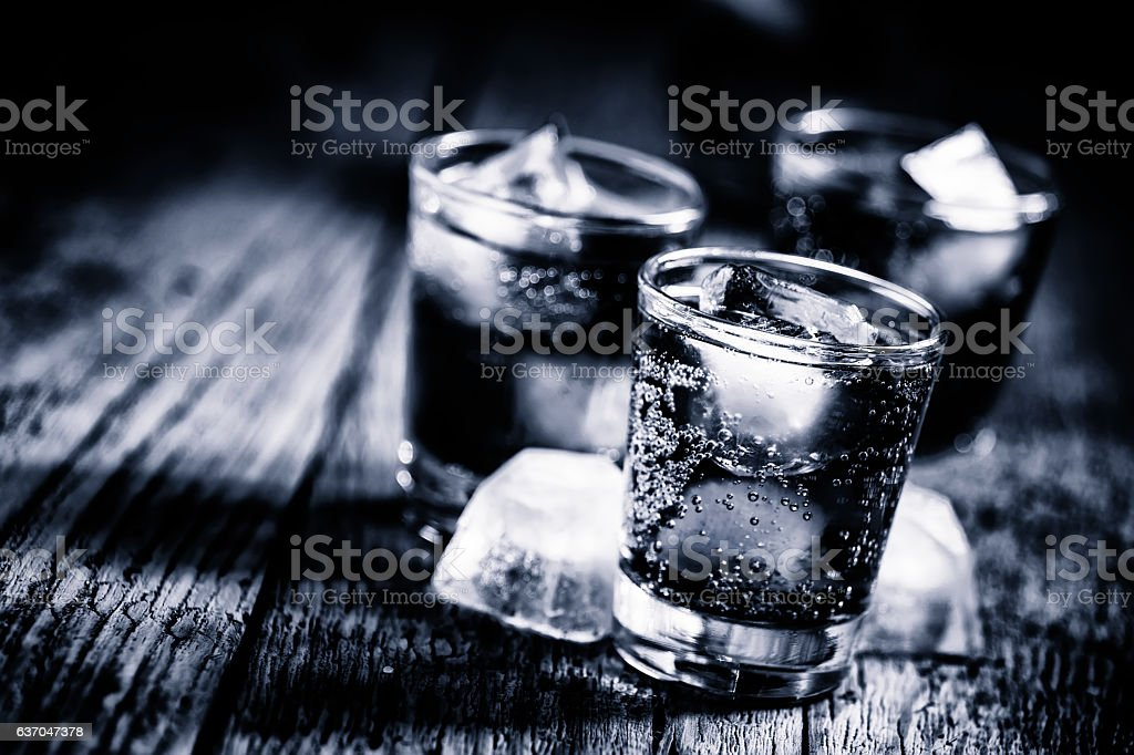 Black and white photo. Alcoholic cocktail stock photo