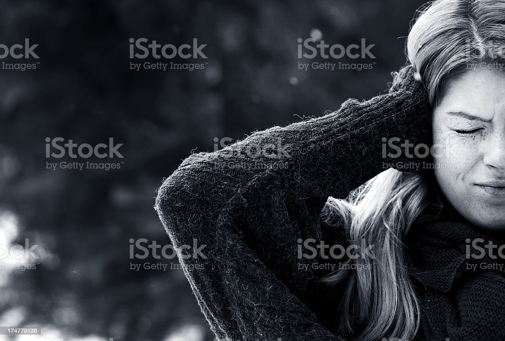 black and white photo of a displeased woman royalty-free stock photo