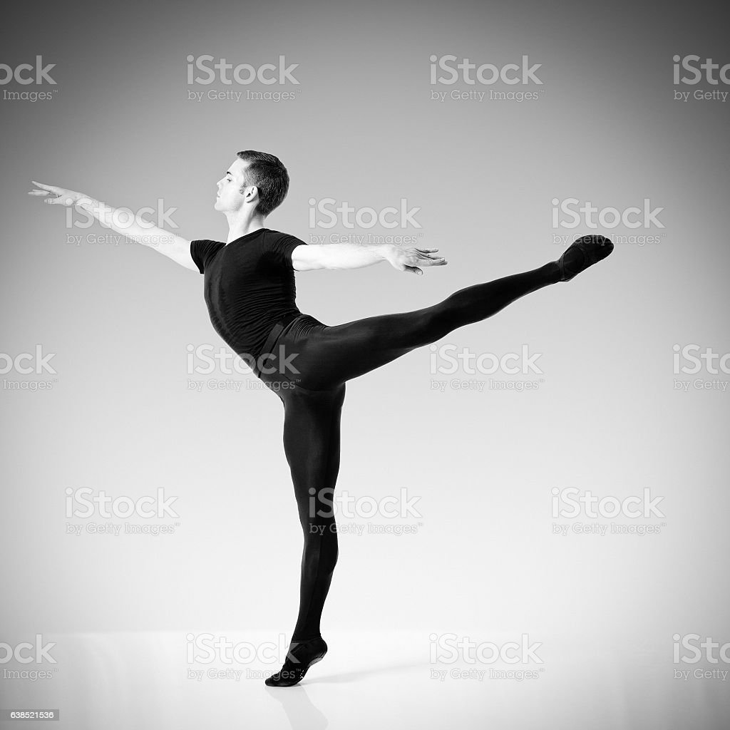 Black and white photo of a male ballet dancer stock photo