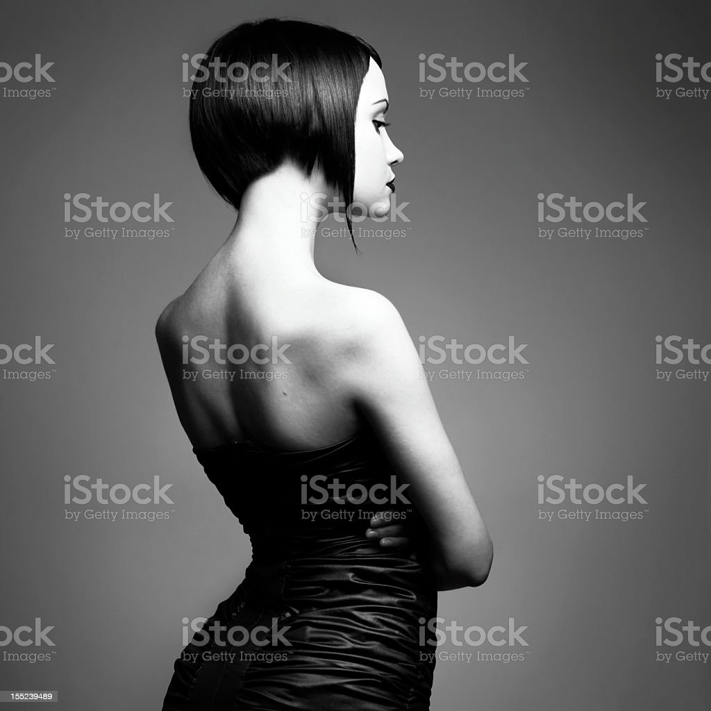 Black and white photo of a woman with a bob haircut royalty-free stock photo