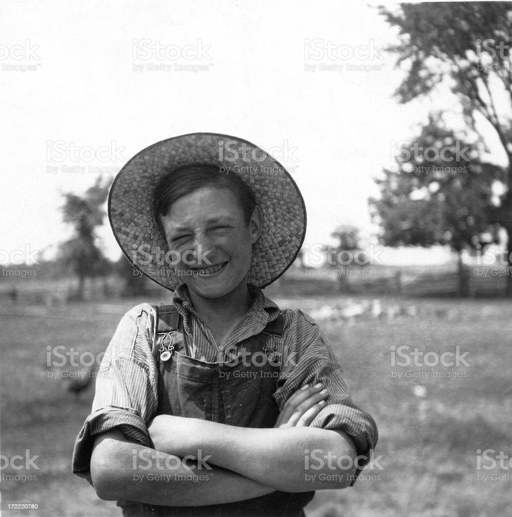 Black and white photo of a young farmer stock photo