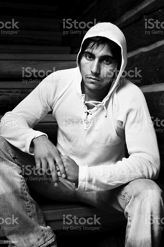 Black and White Photo of a Young Man royalty-free stock photo