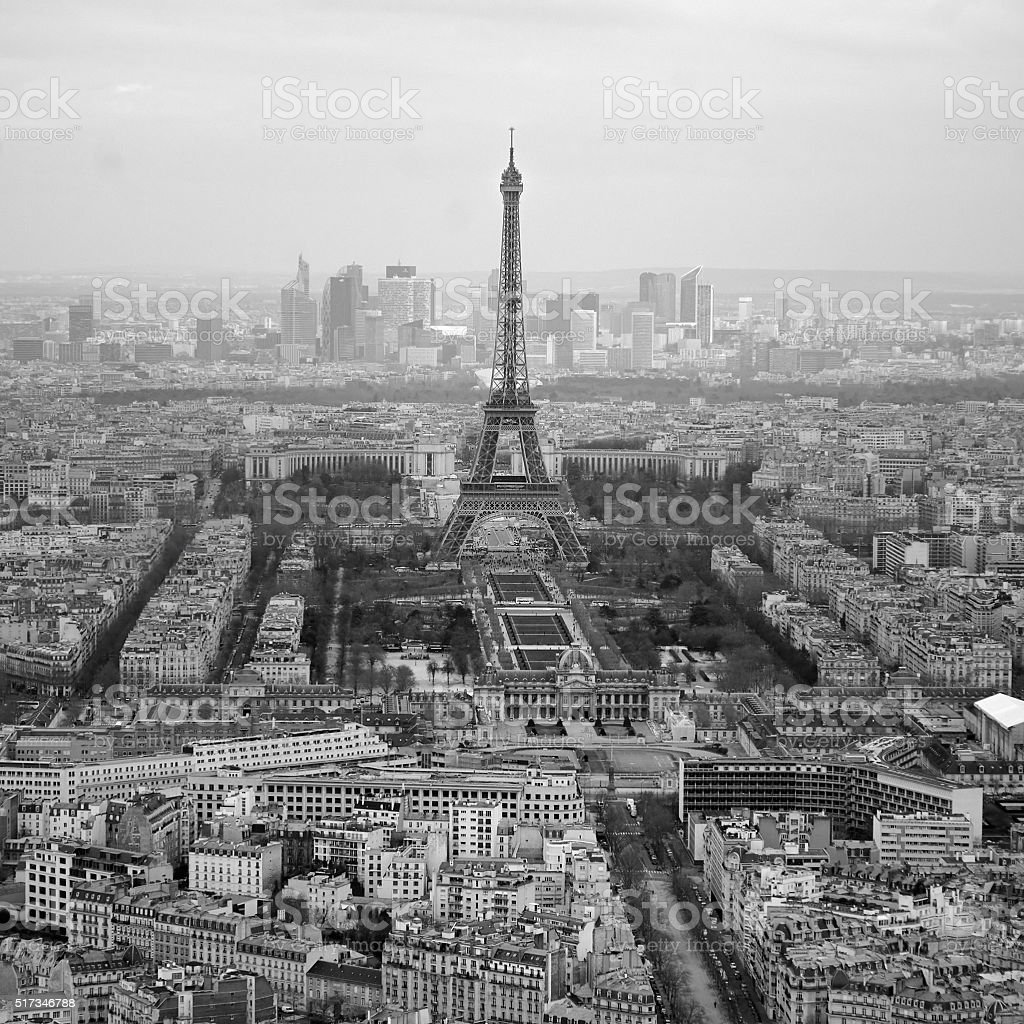 Black and white photo of aerial view Paris, France stock photo