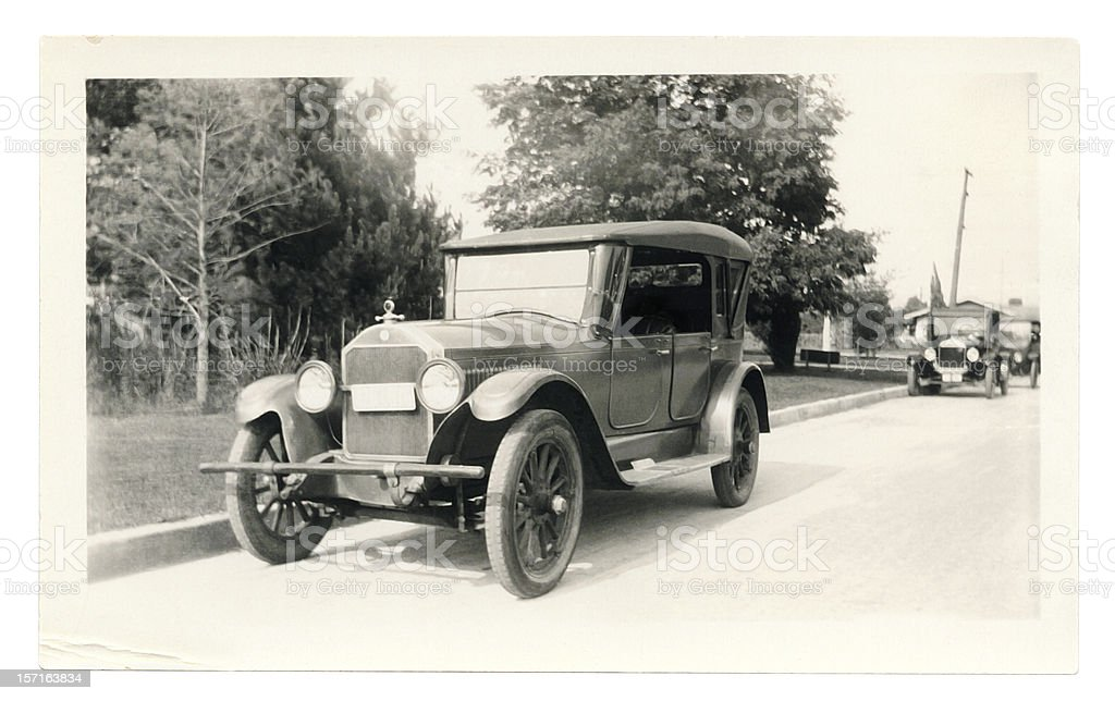 Black and White Photo of an Old Car stock photo