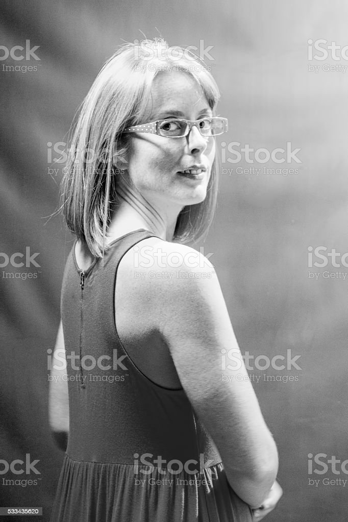 Black And White Photo Of Attractive Female Adult stock photo
