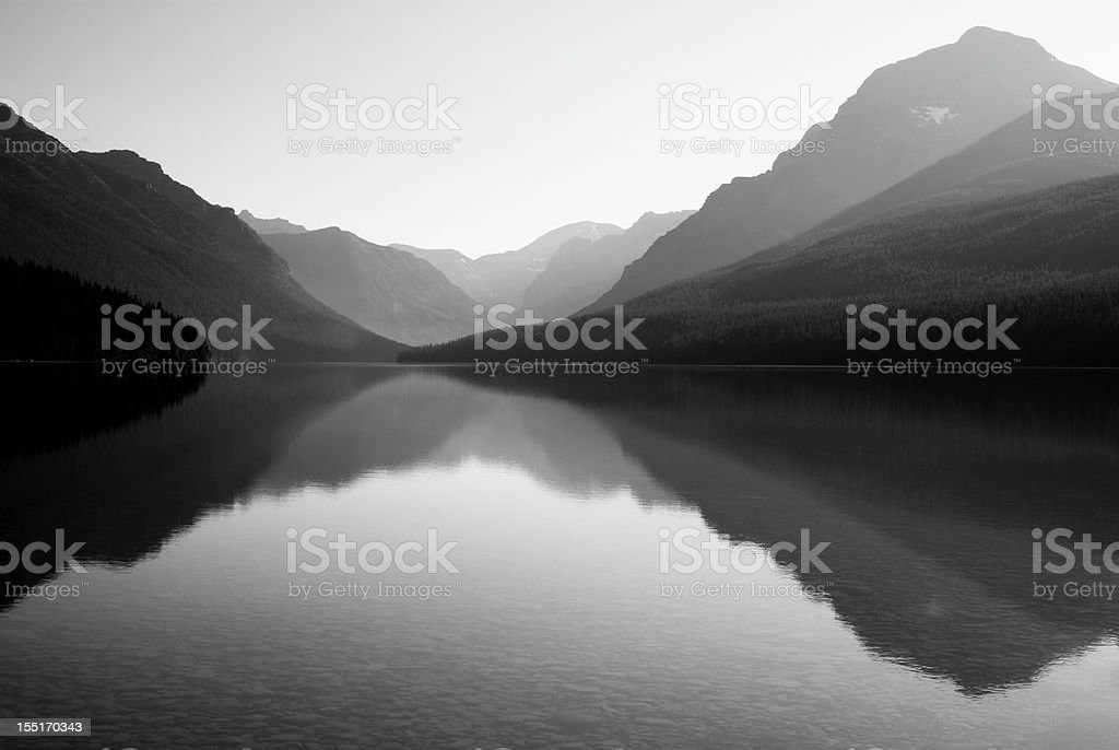Black and white photo of Bowman Lake stock photo