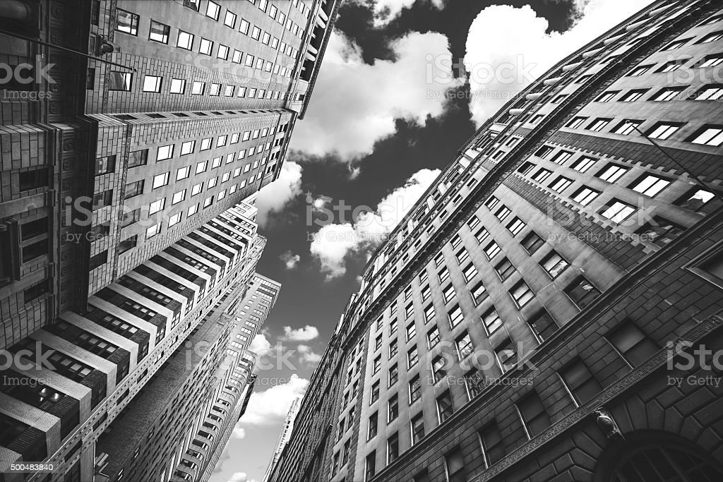 Black and white photo of buildings in Manhattan, NYC. stock photo