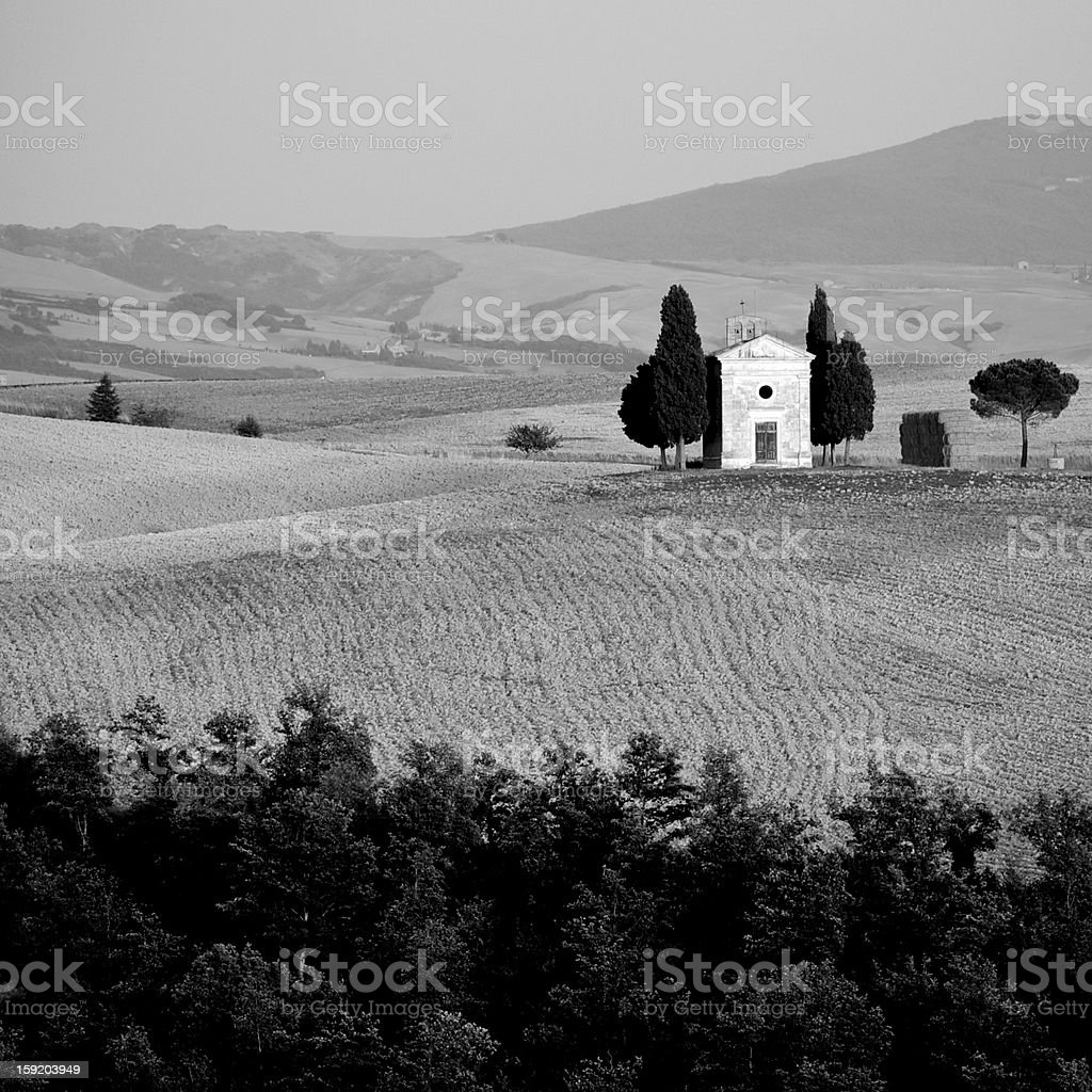 black and white photo of Capella della Madonna di Vitaleta royalty-free stock photo