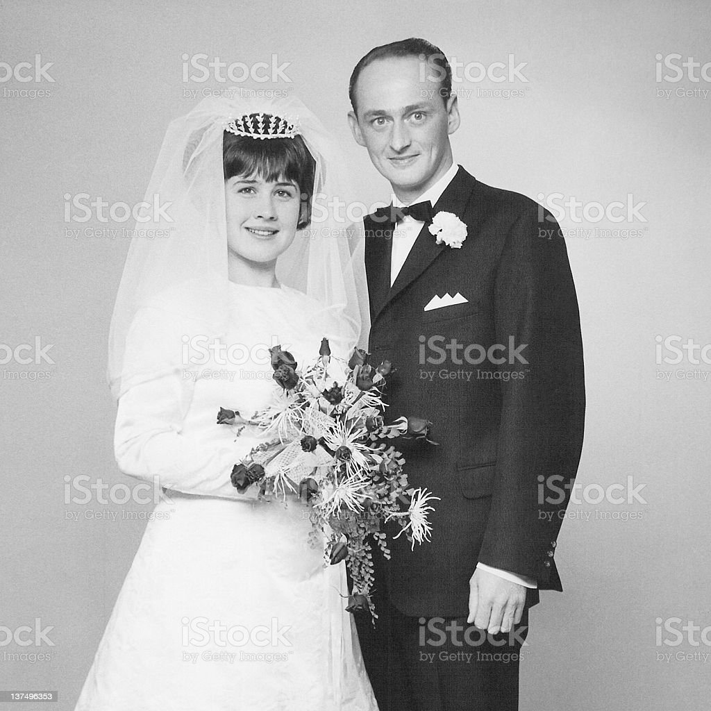 Black and white photo of couple at their wedding day stock photo