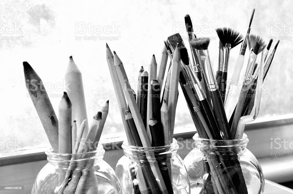 Black and white photo of fine art supplies. stock photo