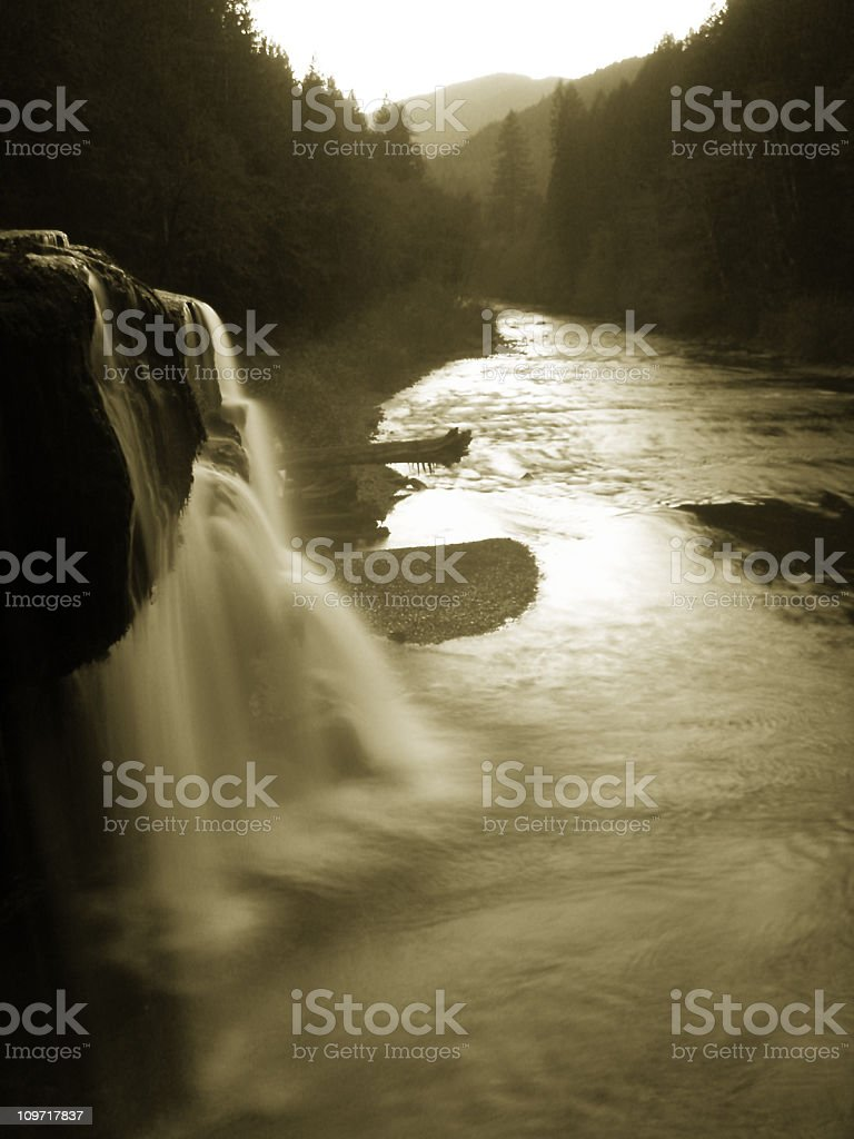 Black and White Photo of Lewis River royalty-free stock photo