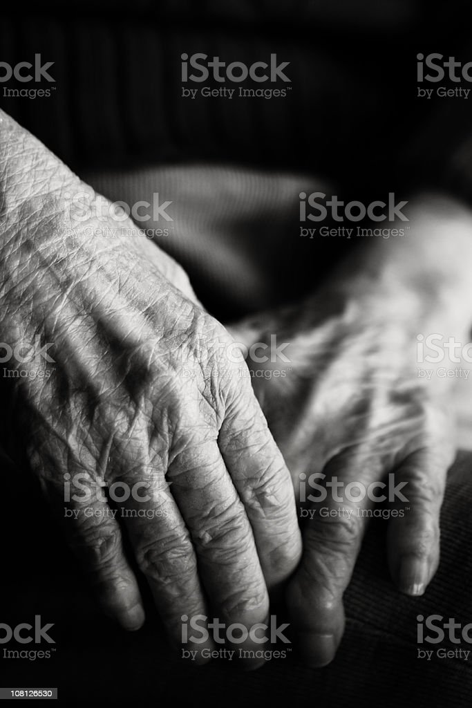 Black and White Photo of Old Hands royalty-free stock photo